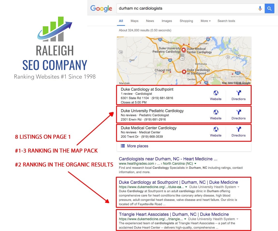 Page 1 organic SEO results for Duke Medicine