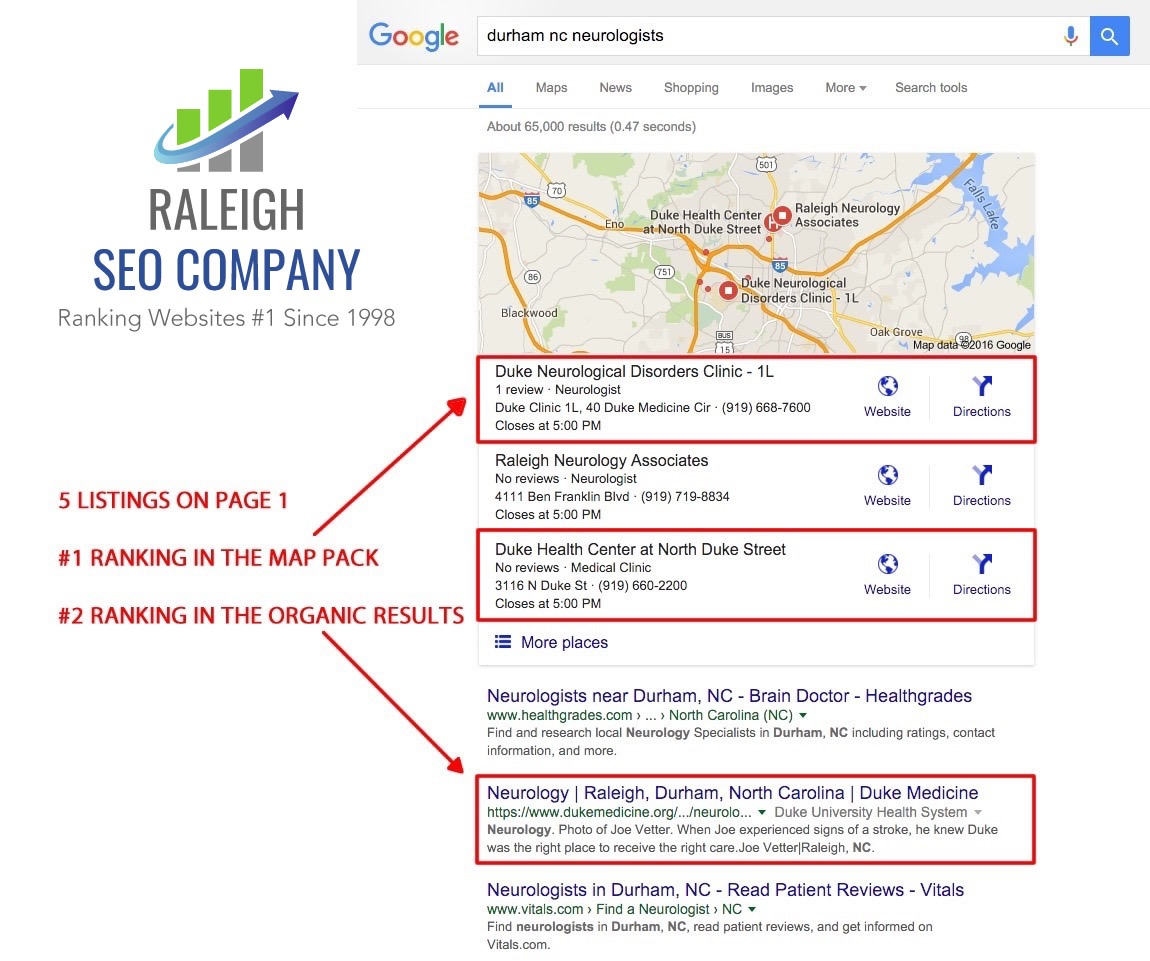Our SEO consultants in Raleigh NC get organic results for our clients
