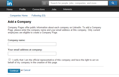 Here's where you add your company details to your LinkedIn business page