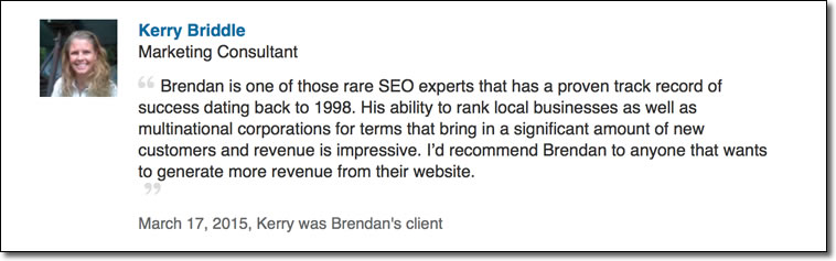 Brendan is one of those rare SEO experts that has a proven track record of success dating back to 1998. His ability to rank local businesses as well as multinational corporations for terms that bring in a significant amount of new customers and revenue is impressive. I'd recommend Brendan to anyone that wants to generate more revenue from their website.