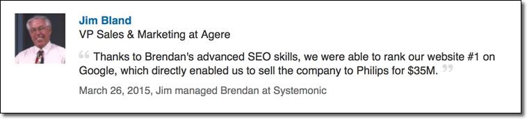 Thanks to Brendan's advanced SEO skills, we were able to rank our website #1 on Google, which directly enabled us to sell the company to Philips for $35M.