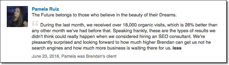 During the last month, we received over 18,000 organic visits, which is 26% better than any other month we've had before that. Speaking frankly, these are the types of results we didn't think could really happen when we considered hiring an SEO consultant. We're pleasantly surprised and looking forward to how much higher Brendan can get us not he search engines and how much more business is waiting there for us.