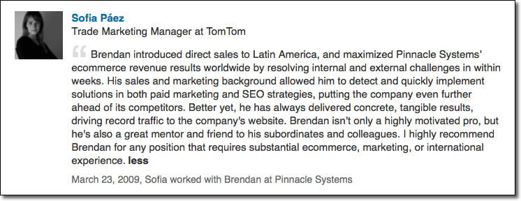 Brendan introduced direct sales to Latin America, and maximized Pinnacle Systems' ecommerce revenue results worldwide by resolving internal and external challenges in within weeks. His sales and marketing background allowed him to detect and quickly implement solutions in both paid marketing and SEO strategies, putting the company even further ahead of its competitors. Better yet, he has always delivered concrete, tangible results, driving record traffic to the company's website. Brendan isn't only a highly motivated pro, but he's also a great mentor and friend to his subordinates and colleagues. I highly recommend Brendan for any position that requires substantial ecommerce, marketing, or international experience.